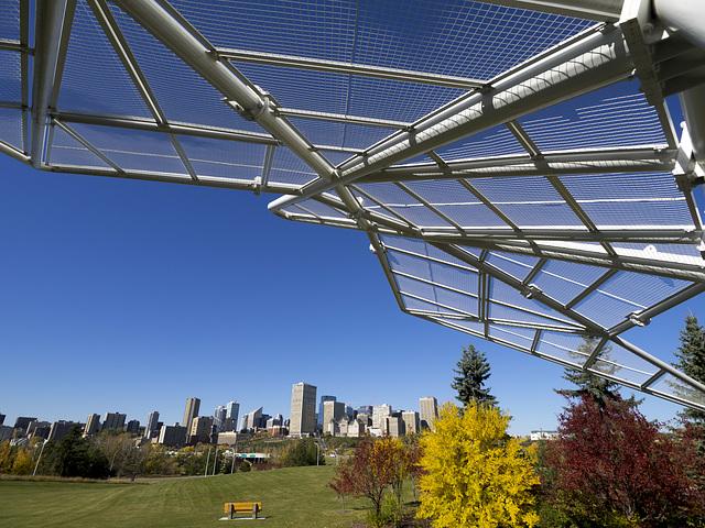 Dove of Peace and Edmonton Skyline