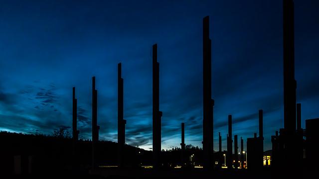 pillars in the night