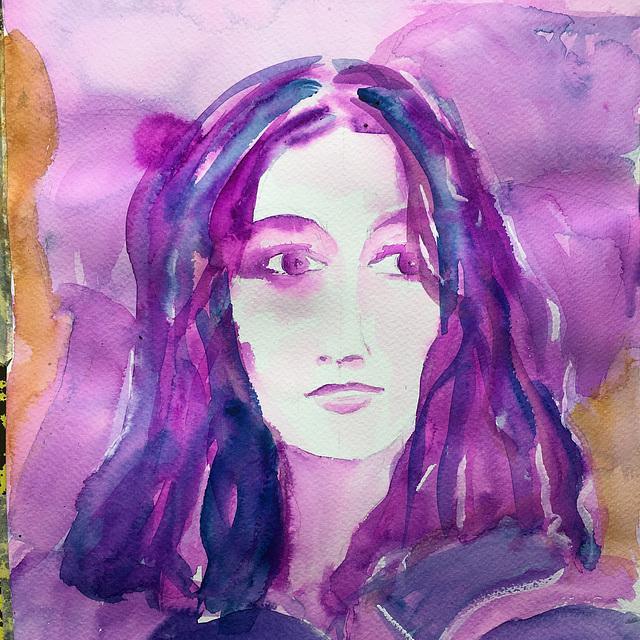 Aquarelle : Jeune femme
