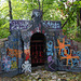 Ukraine, Kiev, Abandoned crypt at the cemetery on the Castle Hill