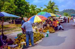 Farmers Market - Durians, keep your distance! - Kuala Perlis, Malaysia
