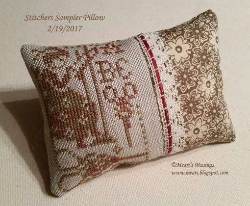 Stitchers Sampler Pillow 2/19/2017