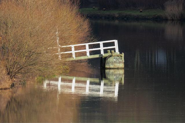 Ein Steg am Neckar