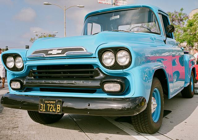 Aqua 1959 Chevrolet Apache Pickup Truck - Fuji GSW690II - Reala 100