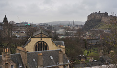 Edinburgh Castle, Greyfriars Kirk in the foreground