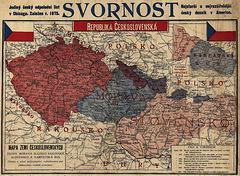 Mapo de landoj aparteninataj al la origina Ĉeĥoslovakio en 1019