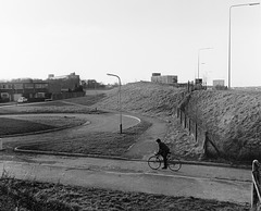 Cranbourne Lane Basingstoke, 1981 with cyclist