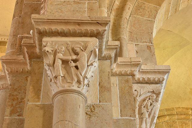 Vezelay, chapiteau, Jacob et l'ange