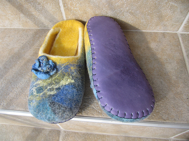 felted slippers blue and yellow