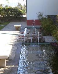 Fountain in house's backyard.