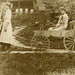 Girls Pulling Themselves on a Wagon