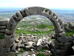 Pergamon- View of Bergama Through an Arch