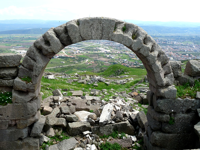 Pergamon- View of Bergama Through an Arch