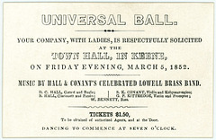 Universal Ball, Keene, New Hampshire, March 5, 1852
