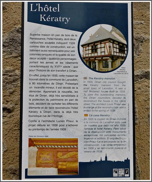 Panneau explicatif de l'hôtel Keratry à Dinan (22)