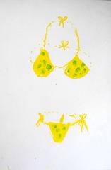 The invisible girl in her Itsy Bitsy Teenie Weenie Yellow Polka dot Bikini