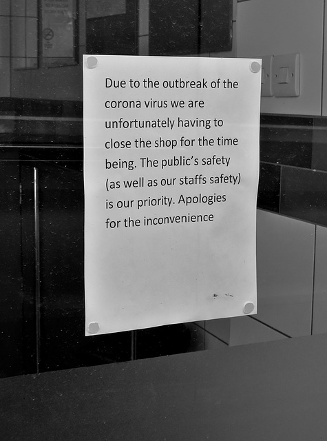 Due to the Outbreak