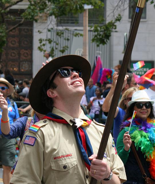 San Francisco Pride Parade 2015 - Boy Scout Proud Of His Pole (6151)