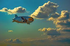 Zeppelin flight through the clouds