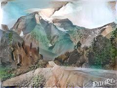 Mount Robson Algorithmic Water Colour