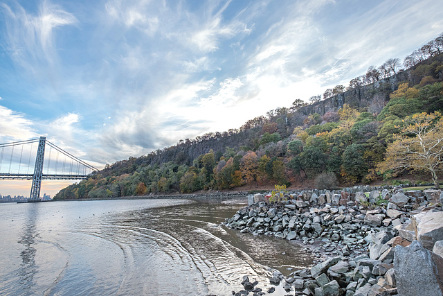The Palisades that rise over the Hudson River