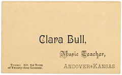 Clara Bull, Music Teacher, Andover, Kansas, ca. 1880s