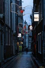 Morgens, in den Gassen von Amsterdam