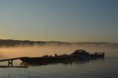 Причал кемпинга Бакота, Туман над водой / Berth of Bakota Camping, Fog on the Water