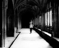 A Figure Walking in the Cloisters