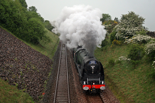 LMS class 8P Coronation 46233 DUCHESS OF SUTHERLAND near Warton with 1Z33 Carlisle - Norwich The Hadrian(steam as far as Hellifield) 27th May 2017.