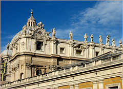 Detail with Belltower from the St. Peter's Basilica, Rome...