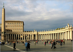 Walking over the Saint Peter's Square with Obelisk, Apostolic palace  and a part of the Doric colonnade... Today it's empty :(