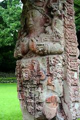 Honduras, Sculptural Image of Mayan King and Mayan Pictograms in Copan Ruinas