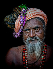 sadhu with flower power