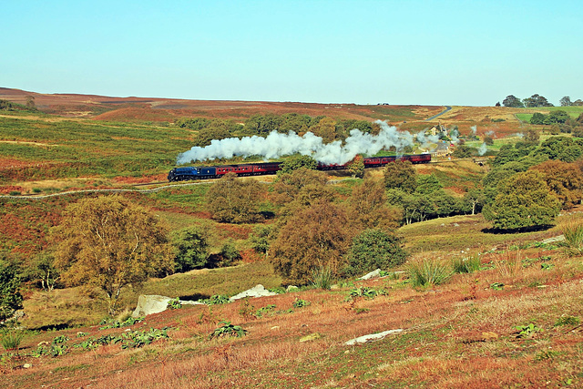 """LNER Class A4 no 60007 """"Sir Nigel Gresley"""" steams over the North Yorkshire Moors"""
