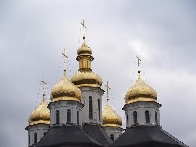 Чернигов, Золотые купола Екатерининской церкви / Chernigov, The Golden Domes of the Church of St.Catherine