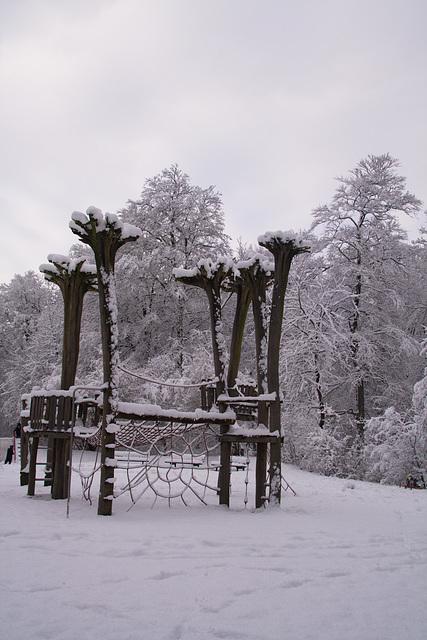 Spielplatz aus Bäumen im Winterwald