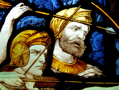 Detail of stained glass, Fenny Bentley Church, Derbyshire