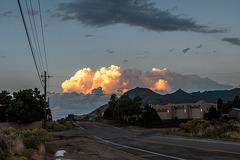 The sunlight striking a cloud