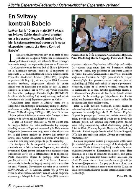 Petr Chrdle - En Svitavy kontraŭ Babelo - artikolo en Esperanto Aktuell 2017/4