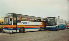 407/04 Premier Travel Services (Stagecoach Cambus) H407 GAV, K911 RGE and J408 TEW at Cambridge garage - 1 Mar 1997