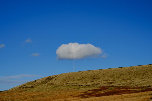 A cloud stuck on the Holme Moss tower