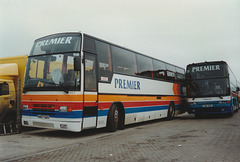 407/03 Premier Travel Services (Stagecoach Cambus) H407 GAV and K911 RGE at Cambridge garage - 1 Mar 1997