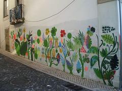 Sidewalk paint garden.