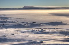 Ice mist at Hardangervidda mountain plateau.