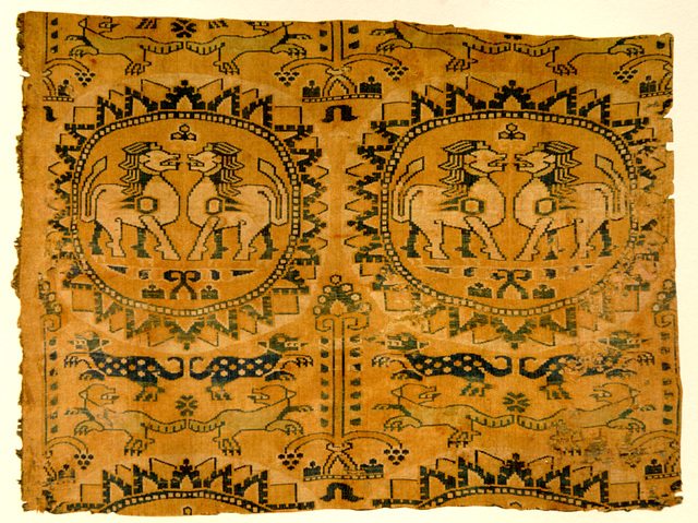 Lions, soie polychrome sogdienne, Asie centrale