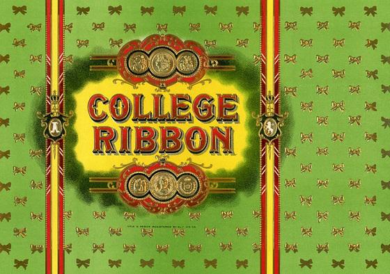 College Ribbon Cigar Box Label