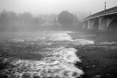 River Leven and Dumbarton Bridge in the Fog
