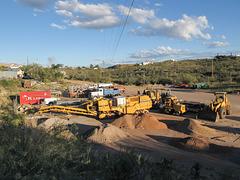 A roadwork equipment evening in Tombstone, Arizona.