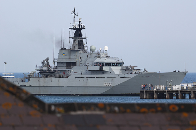 HMS Severn (P282) entering Weymouth harbour